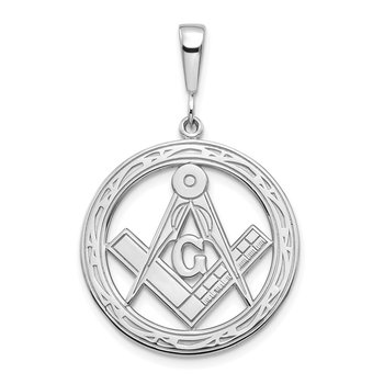 14k White Gold Large Masonic Pendant