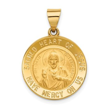 14k Sacred Heart of Jesus Medal Hollow Round Pendant