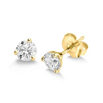 Three Prong Diamond Studs in 14k Yellow Gold Screw-back posts (1/7ct. tw.)