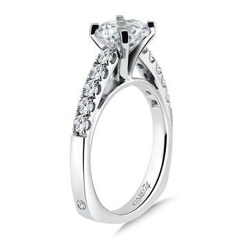 Prong Set Round Diamond Engagement Ring With Side Stones in 14K White Gold with Platinum Head (1-1/2ct. tw.)
