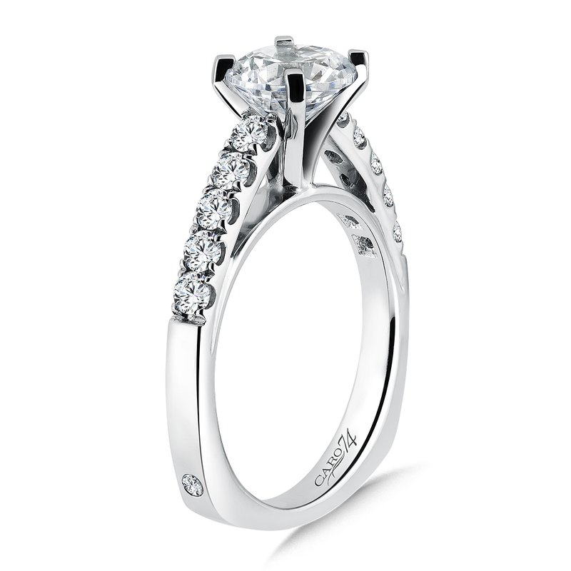 Caro74 Prong Set Round Diamond Engagement Ring With Side Stones in 14K White Gold with Platinum Head (1-1/2ct. tw.)