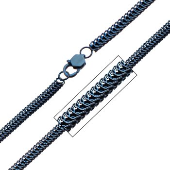 Stainless Steel Blue Plated 4mm Python Chain with Lobster Clasp