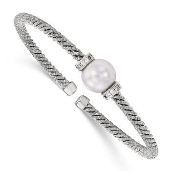 Leslie's Sterling Silver Rhodium-plated 11-12mm FWC Pearl CZ Cuff Bangle