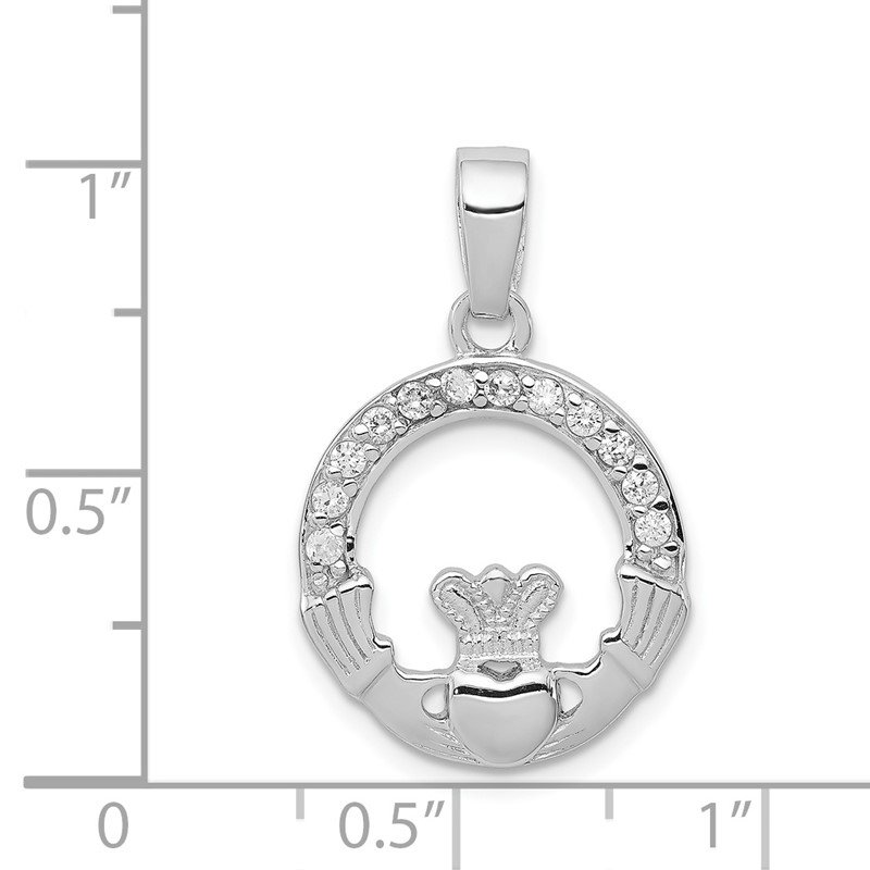 Quality Gold Sterling Silver Rhodium Plated CZ Claddagh Pendant