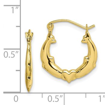 10K Dolphin Heart Hollow Hoop Earrings