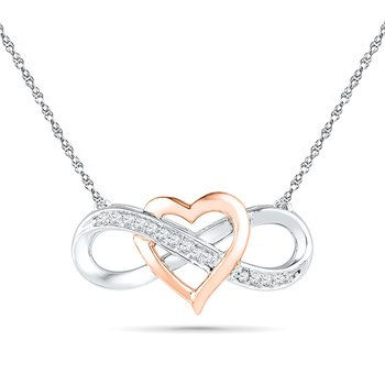 10KT Pink Gold / Silver Infinity Heart  with Diamond Necklace