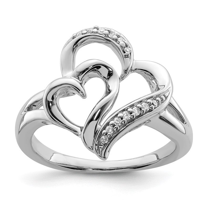 JC Sipe Essentials Sterling Silver Rhodium Diam. Heart Ring