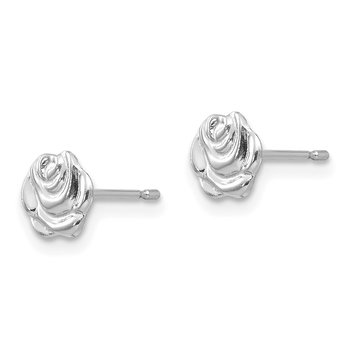 14k White Gold Madi K Polished Rose Post Earrings