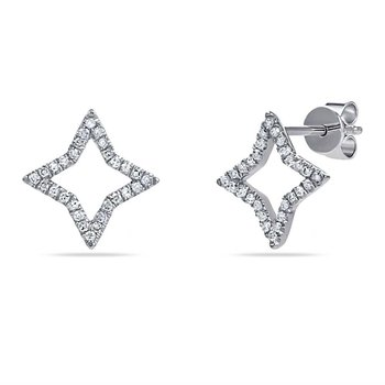 14K open star stud earrings with 56 Diamonds 0.16CT