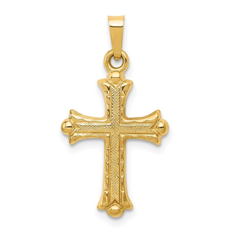Quality Gold 14k Hollow Fleur De Lis Cross Pendant