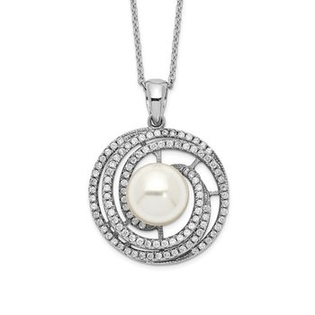 Sterling Silver Majestik Rh-plated 10-11mm Imitat Shell Pearl CZ Necklace