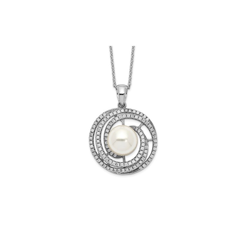 Quality Gold Sterling Silver Majestik Rh-plated 10-11mm Imitat Shell Pearl CZ Necklace