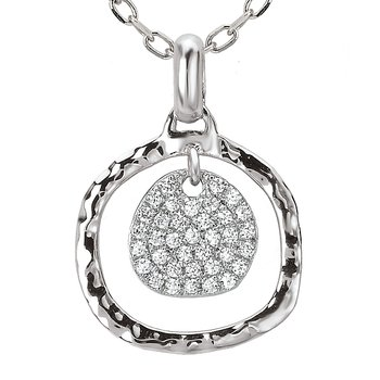 14KW TES PAVE DIA-N-HAMMERED #PENDANT W/BAIL,D1/8CTW, 121380
