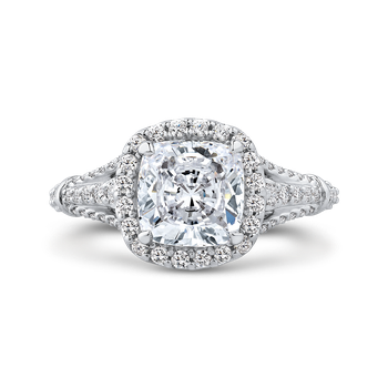 18K White Gold Cushion Diamond Halo Engagement Ring with Split Shank (Semi-Mount)