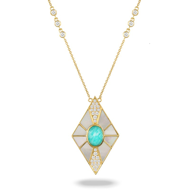 MAZZARESE Couture Amazon Breeze MOP Necklace 18KY