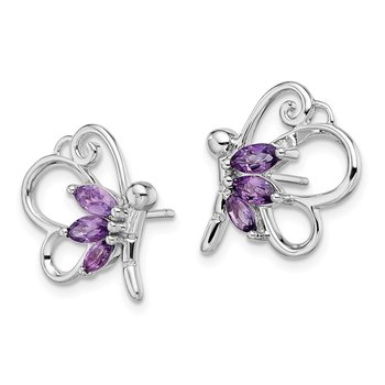 Sterling Silver Rhod-plat Amethyst Dragonfly Earrings