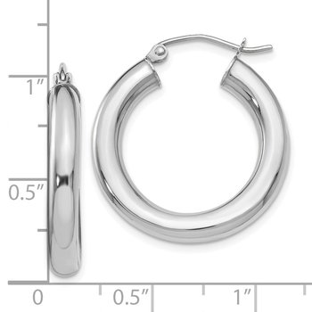 Leslie's 10K White Gold Polished Lightweight Hoop Earrings