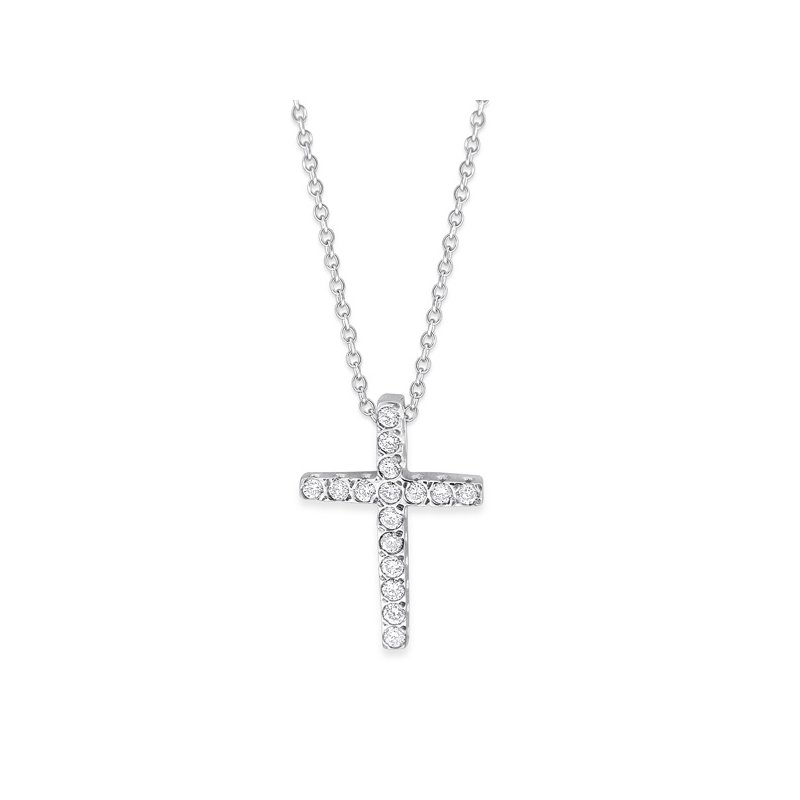 KC Designs Diamond Small Cross Necklace in 14K White Gold with 16 Diamonds Weighing .15ct tw.