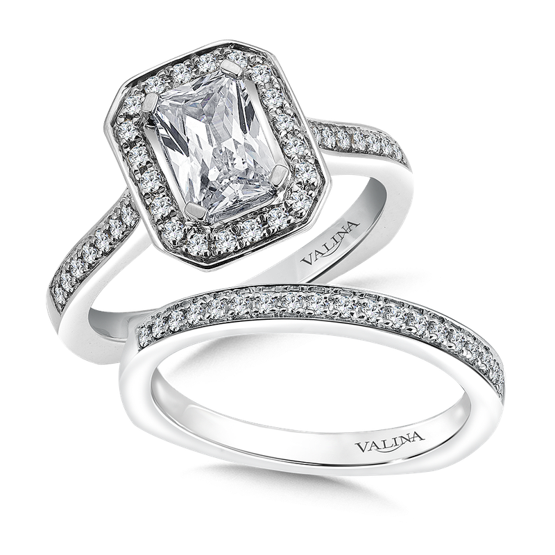 Valina Emerald cut shape halo mounting .26ct. tw., 1 ct. emerald cut center.