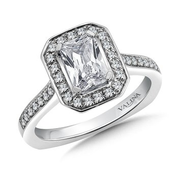 Emerald cut shape halo mounting .26ct. tw., 1 ct. emerald cut center.