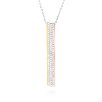 14K Gold and Diamond Triple Bar Necklace
