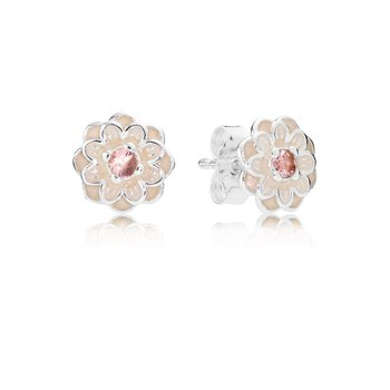 Blooming Dahlia Stud Earrings, Cream Enamel Blush Pink Crystals