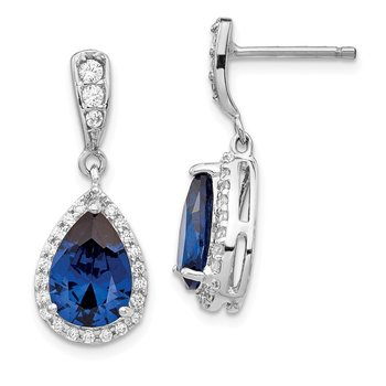 Cheryl M SS Rhod-plated CZ & Lab Cr. Dark Blue Spinel Post Dangle Earrings