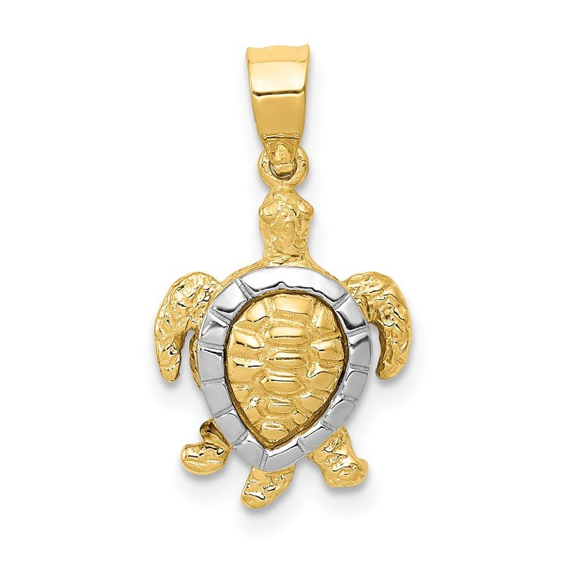 Quality Gold 14K Two-tone Gold Turtle Charm
