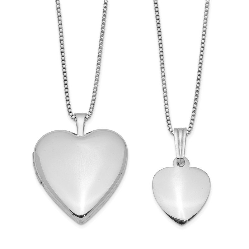Quality Gold Sterling Silver Rhodium-plated Polished/Satin Heart Locket & Pendant Set