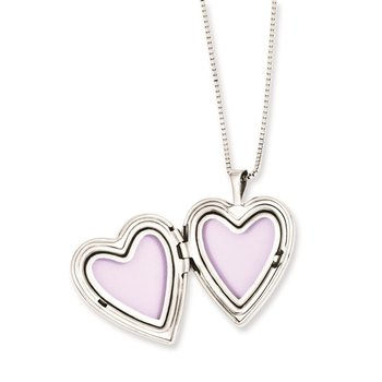 Sterling Silver Rhodium-plated Polished and Satin Heart Locket & Pendant Se