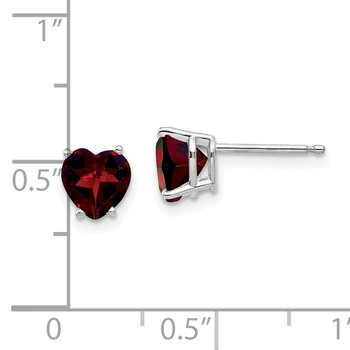 14k White Gold 6mm Heart Garnet Earrings