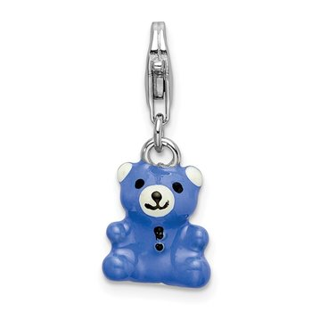 Sterling Silver RH Blue Enamel Teddy Bear w/Lobster Clasp Charm