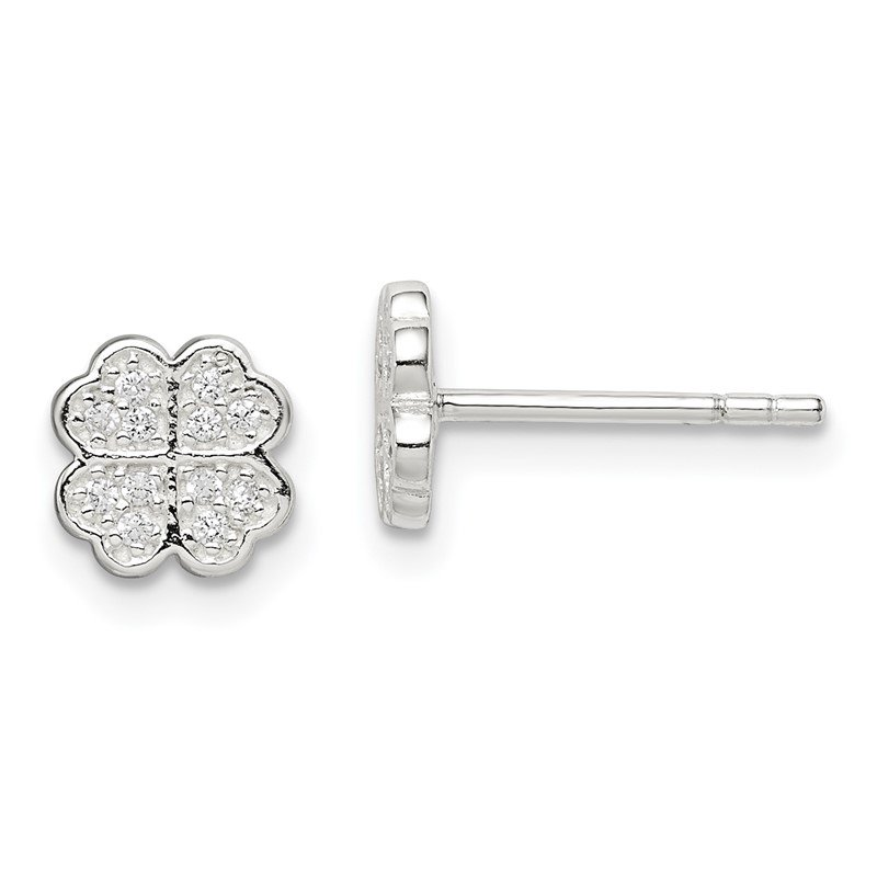 Quality Gold Sterling Silver CZ Clover Post Earrings