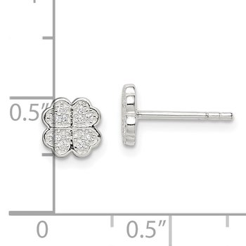 Sterling Silver CZ Clover Post Earrings