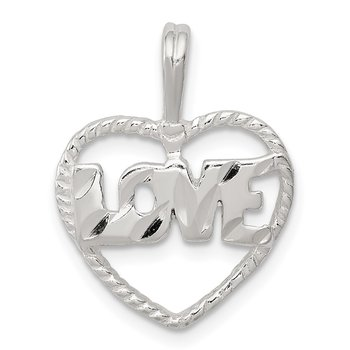 Sterling Silver Diamond Cut Love Heart Pendant