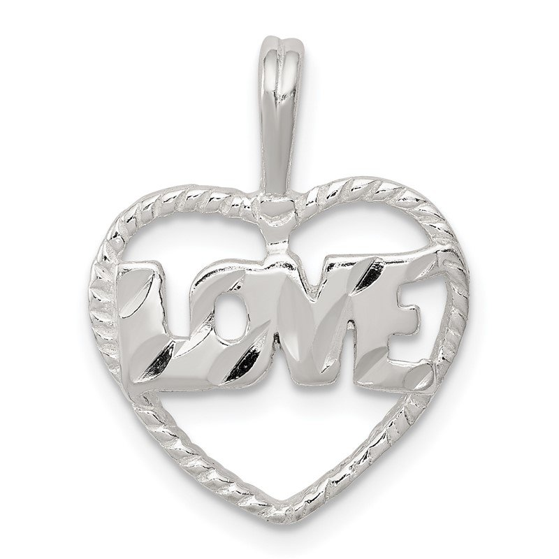 Quality Gold Sterling Silver Diamond Cut Love Heart Pendant