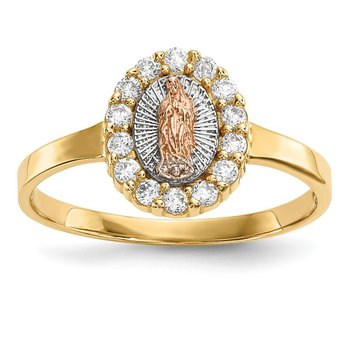 14k Two-tone w/White Rhodium CZ Lady of Guadalupe Ring