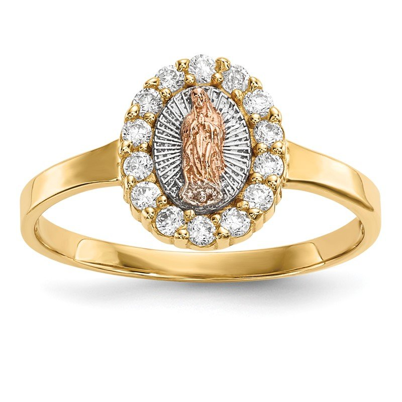 Lester Martin Online Collection 14k Two-tone w/White Rhodium CZ Lady of Guadalupe Ring