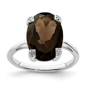 Sterling Silver Rhodium Smoky Quartz & Diamond Ring