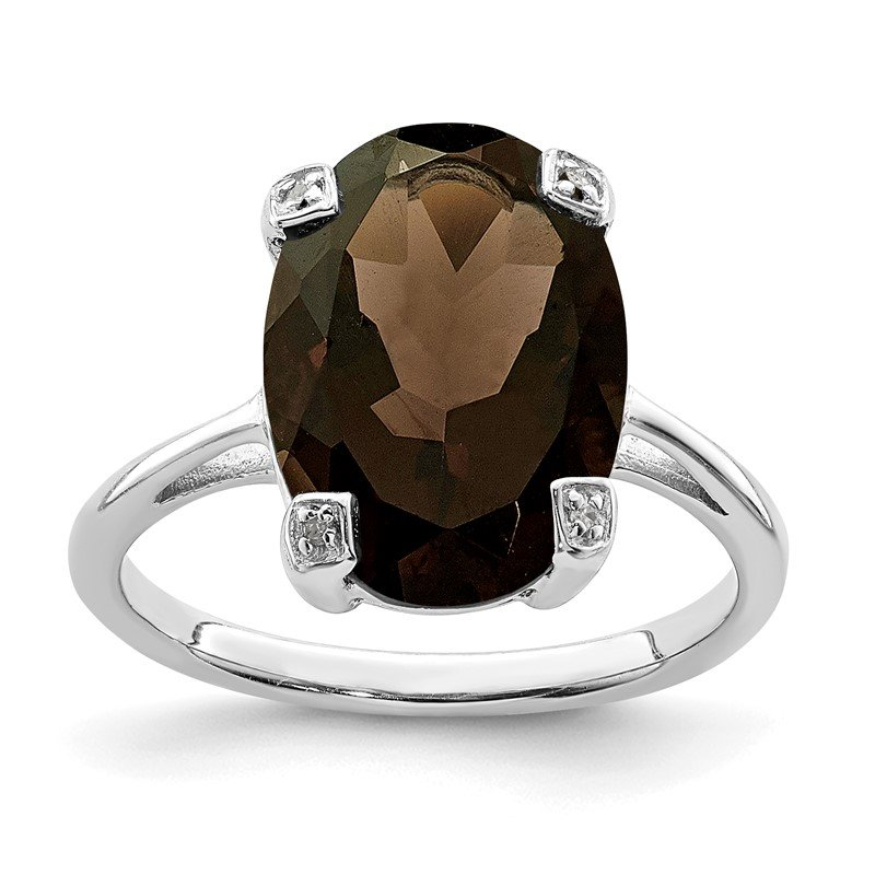 JC Sipe Essentials Sterling Silver Rhodium Smoky Quartz & Diamond Ring