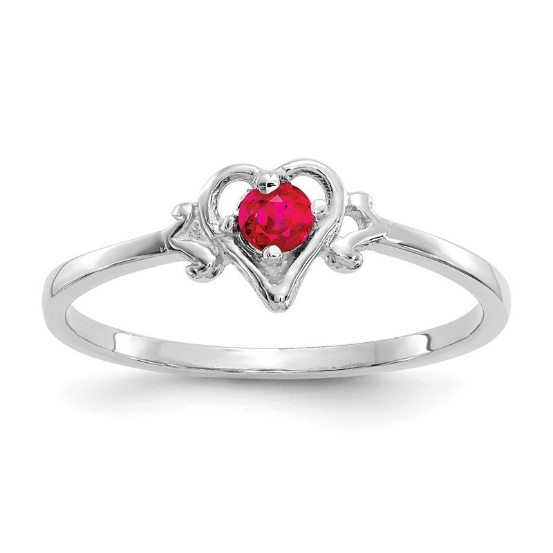Quality Gold 14K White Gold Ruby Birthstone Heart Ring