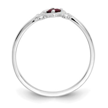 14K White Gold Ruby Birthstone Heart Ring