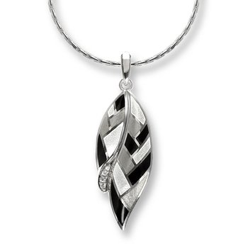 Black and White Harlequin Feather Necklace.Sterling Silver-White Sapphire