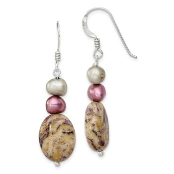 Sterling Silver Charoite / FW Cultured Pearl Earrings