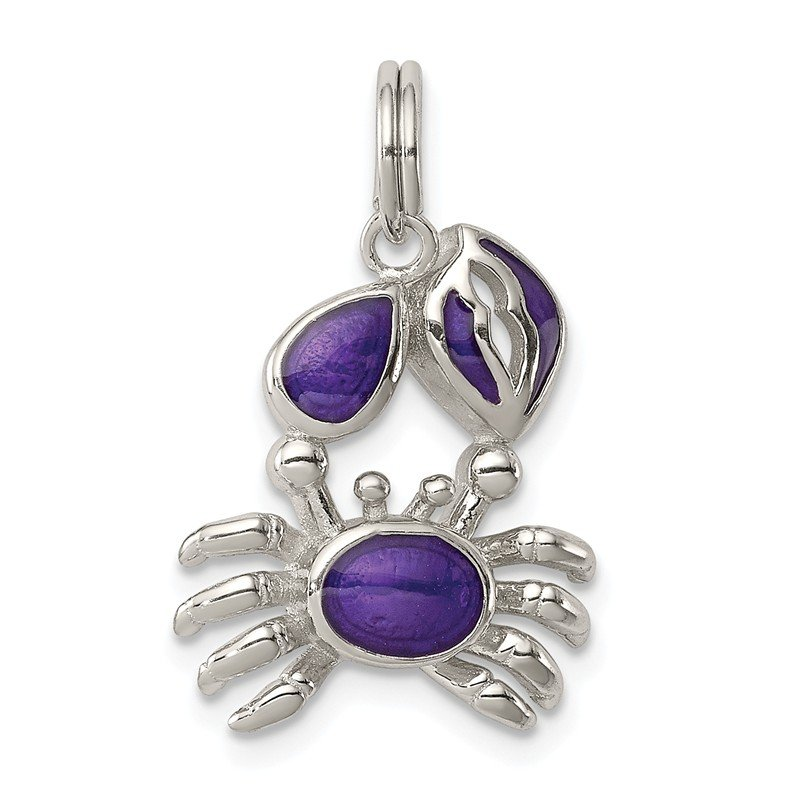 Arizona Diamond Center Collection Sterling Silver Purple Enameled Crab Charm