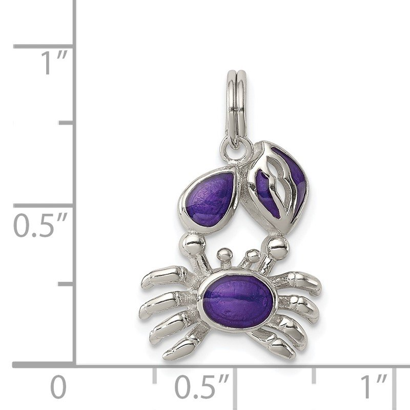 Quality Gold Sterling Silver Purple Enameled Crab Charm