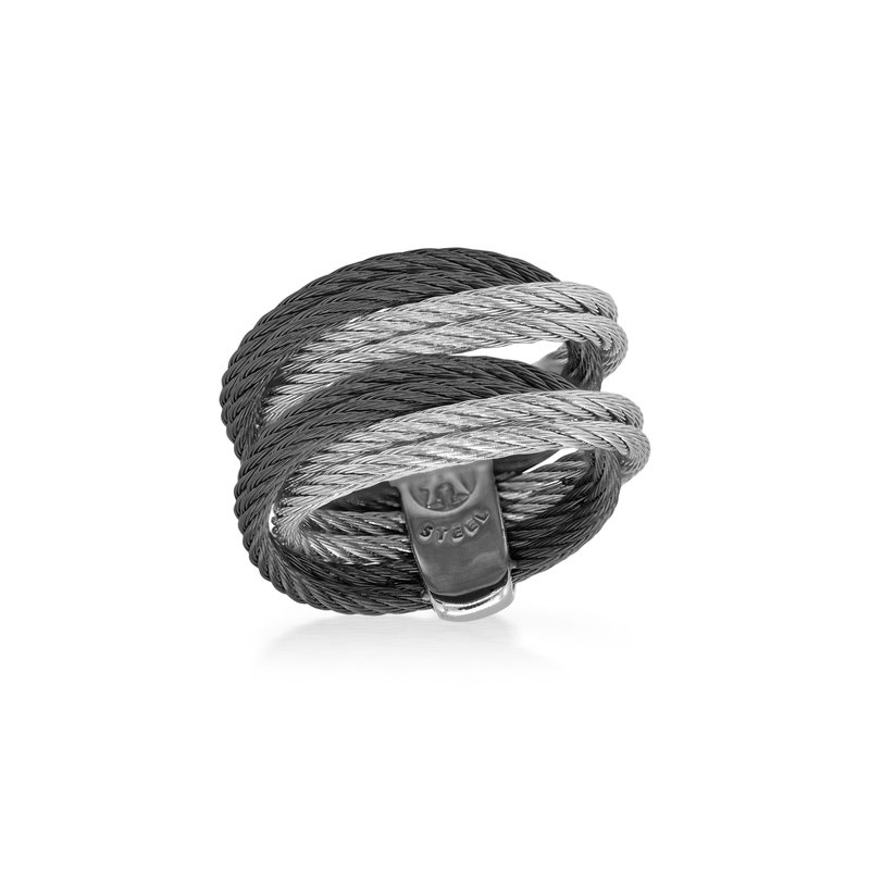 ALOR Black & Grey Cable Entwine Ring