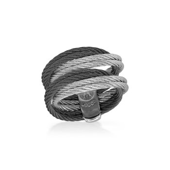 Black & Grey Cable Entwine Ring