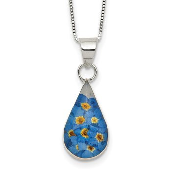 Sterling Silver Shrieking Violet Real Forget Me Not 2.25in ext Necklace