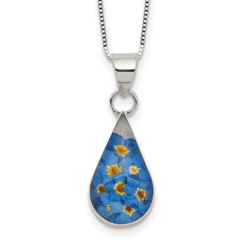 Quality Gold Sterling Silver Shrieking Violet Real Forget Me Not 2.25in ext Necklace